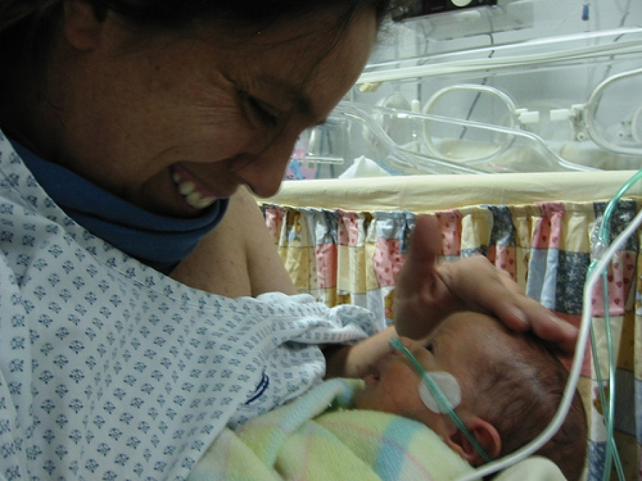 Premature baby with his mum